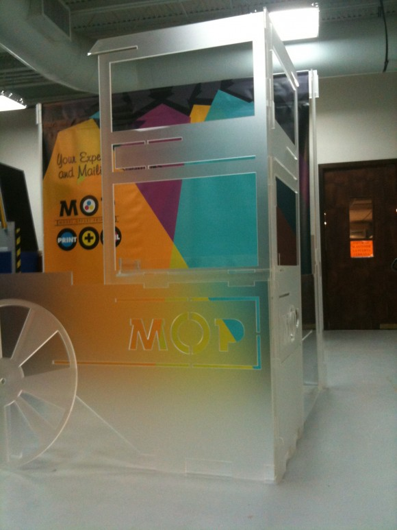Commercial booth made out of laser cut frosted acrylic