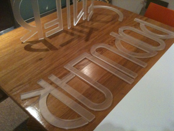 Prototype out of frosted acrylic made to study a custom typeface that I am developing.